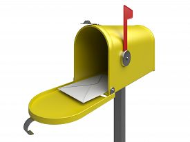 picture of mailbox  - Yellow mailbox with letter on a white - JPG
