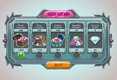 stock photo of gem  - Add gems panel vector epic game asset with gems icons and buttons - JPG