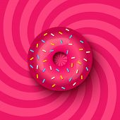 picture of hypnotizing  - Vector illustration of a pink donut on hypnotic background - JPG