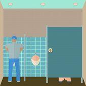 stock photo of pissoire  - Toilet interior vector illustration - JPG