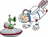 foto of spaceman  - Cartoon Illustration of Spaceman or Astronaut with Alien in Space - JPG
