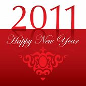 2011 Happy New Year text with ornament red