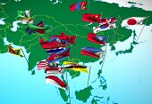 Asia Flags On Map (Southeast View)