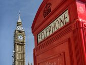 Red telephone box in Westminster London with Big Ben in background