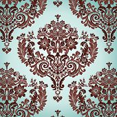 Seamless Damask floral background pattern. Vector illustration.