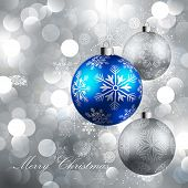 stock photo of merry christmas text  - christmas background with baubles - JPG