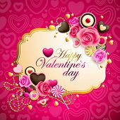 beautiful pink and golden valentine`s day background