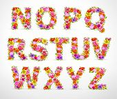 vector colorful flower font. Check my portfolio for other letters, numbers and lowercase letters
