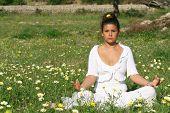 yoga in meadow