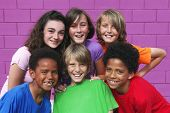 image of pre-teen boy  - happy group kids - JPG