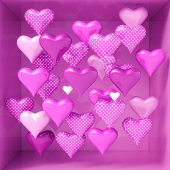 3d Rendering: 3d Hearts Shapes for Valentines Day Background and Weeding Design Elements, Be my Vale poster