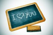 I love you drawn on a blackboard chalk