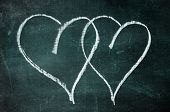 two hearts drawn with a chalk on a blackboard