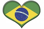 a heart with the flag of Brazil isolated on a white background