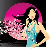 picture of night-blooming  - girl with blooming cherry twig - JPG