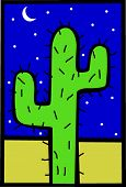 stock photo of semi-arid  - lonely cactus in the desert at night - JPG