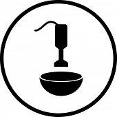 hand blender and bowl mixing symbol