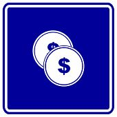 money coins or tokens sign