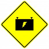 car battery sign