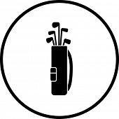 stock photo of golf bag  - golf clubs bag symbol - JPG