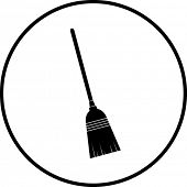 simplified illustration of a broom to be used as a sign, symbol or icon