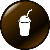 ice cold coffee beverage with drinking straw symbol