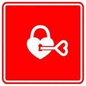 padlock heart and key sign