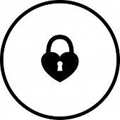 heart closed padlock symbol