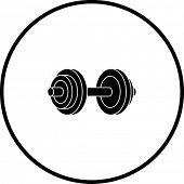 stock photo of weight lifter  - dumbbell weights symbol - JPG