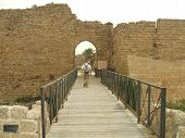 Tourist In Caesarea/Roman Ancient Capital City In Israel poster