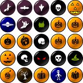 stock photo of ovni  - halloween vector buttons set - JPG