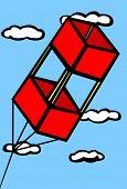 box kite flying in the sky