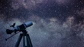 Постер, плакат: Astronomical Telescope Constellation Aquila In The Night Sky Eagle Constellation
