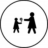child giving a flower to her mother