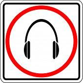 headphones allowed sign