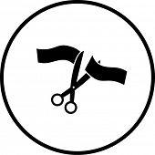 ceremonial scissors and ribbon symbol