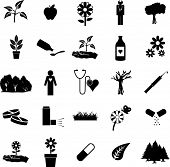 plants and medicine symbol set
