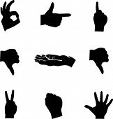 hands mini symbols set