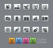 Wireless & Communications // Satinbox Series -------It includes 5 color versions for each icon in different layers ---------