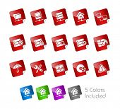 Network, Server & Hosting // Stickers Series -------It includes 5 color versions for each icon in di