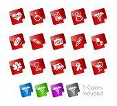 Постер, плакат: Медицинские иконки наклейки серии она включает в себя 5 версии цвет для каждого значка в различных Лэ