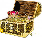 Piracy chest with gold and a crown
