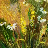 Background drawing of wild flowers