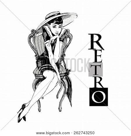 Retro Girl In Hat Elegant