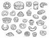 Bread, Buns, Cakes And Pastry Desserts Vector Sketch. Isolated Wheat Bagel, Toast Or Croissant And B poster