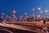 image of parking lot  - Lanterns at shopping mall parking lot illuminated at night - JPG