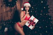 Nice Charming Lovely Adorable Slim Graceful Attractive Girl With Pecs, Press Wearing Lingerie, Bendi poster