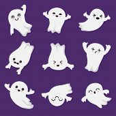 Cute Kawaii Ghost. Halloween Scary Ghostly Characters. Ghost Vector Collection In Japanese Style. Il poster