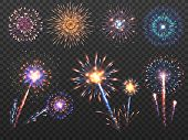 Fireworks. Holiday Firework Explosion In Night, Firecracker Sparks. Happy New Year Vector Decoration poster
