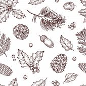 Christmas Seamless Pattern. Winter Fir And Pine Branches With Pine Cones. Vintage Vector Wallpaper I poster